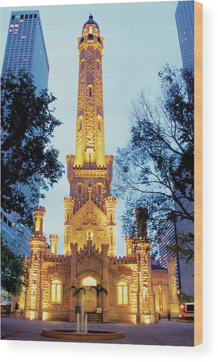 Travel16 Wood Print featuring the photograph Water Tower At Night In Chicago by Medioimages/photodisc