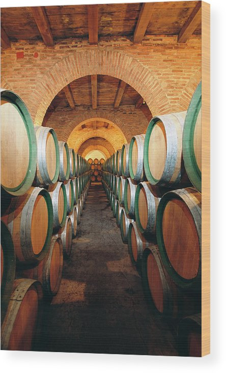 Working Wood Print featuring the photograph Wine Barrels In Cellar, Spain by Johner Images