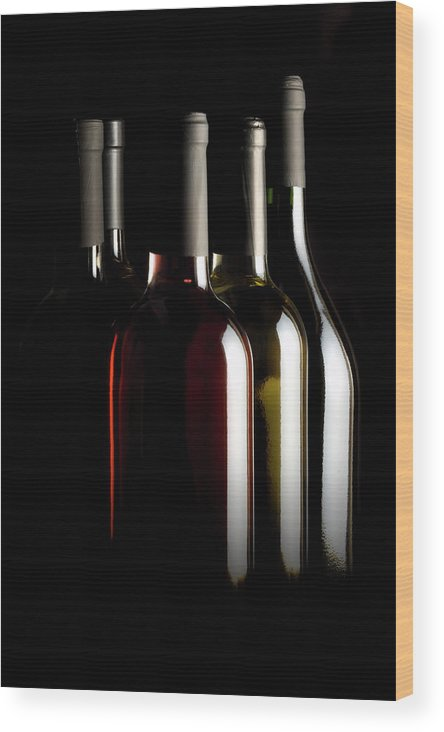 Rose Wine Wood Print featuring the photograph Wine Bottles by Carlosalvarez