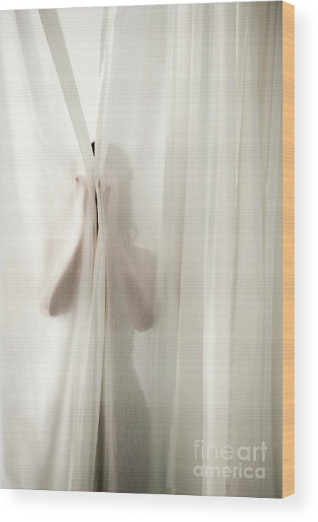 Hiding Wood Print featuring the photograph Woman Behind Curtains by Wealan Pollard