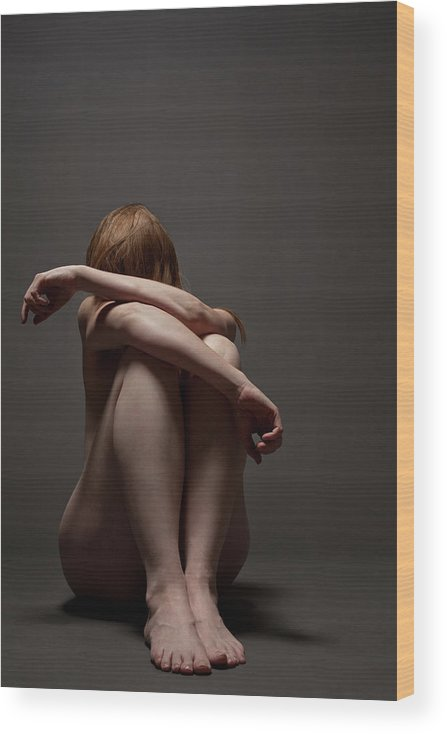 People Wood Print featuring the photograph Woman Crouched On Floor by Claudia Burlotti