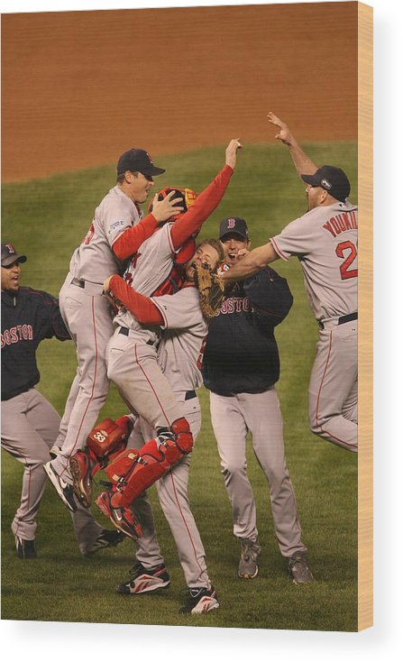 Celebration Wood Print featuring the photograph World Series Boston Red Sox V Colorado by Ron Vesely