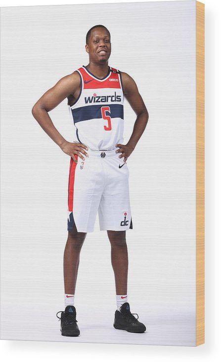 Media Day Wood Print featuring the photograph 2020-21 Washington Wizards Content Day by Ned Dishman