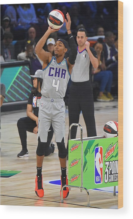 Nba Pro Basketball Wood Print featuring the photograph 2020 NBA All-Star - MTN DEW 3-Point Contest by Bill Baptist