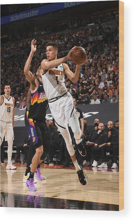 Playoffs Wood Print featuring the photograph 2021 NBA Playoffs - Denver Nuggets v Phoenix Suns by Garrett Ellwood