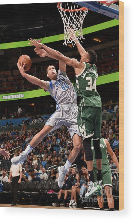 Nba Pro Basketball Wood Print featuring the photograph Aaron Gordon by Gary Bassing