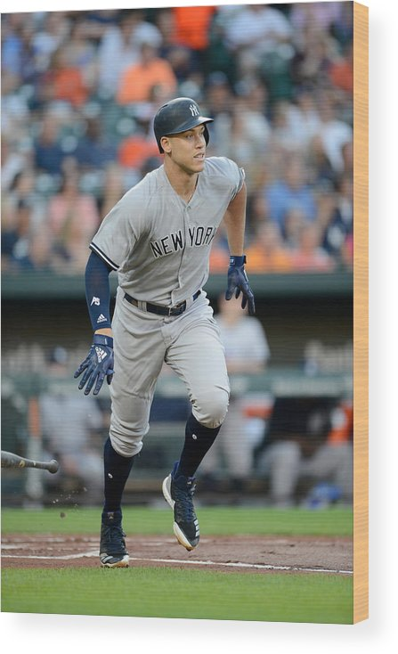 Game Two Wood Print featuring the photograph Aaron Judge by G Fiume