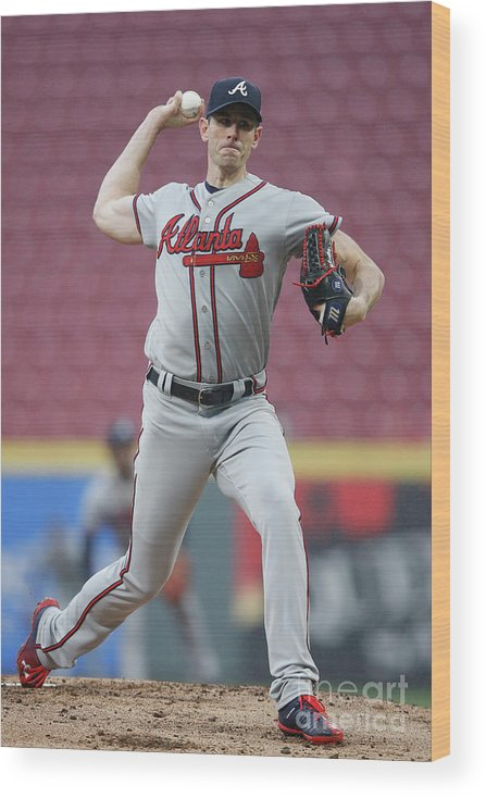 Great American Ball Park Wood Print featuring the photograph Brandon Mccarthy by Joe Robbins