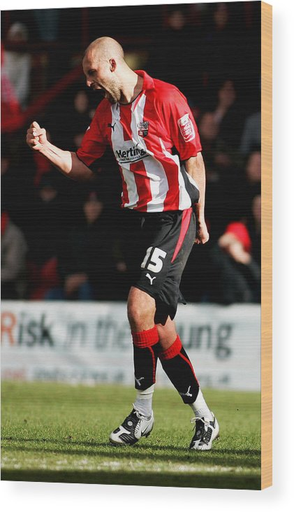 Scoring Wood Print featuring the photograph Brentford v Gillingham by Dean Mouhtaropoulos