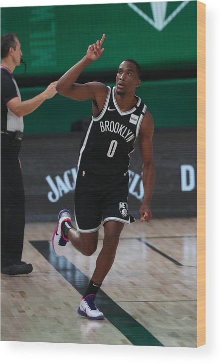 Nba Pro Basketball Wood Print featuring the photograph Brooklyn Nets v Milwaukee Bucks by Joe Murphy