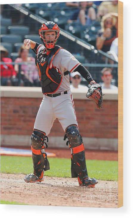 American League Baseball Wood Print featuring the photograph Buster Posey by Mike Stobe