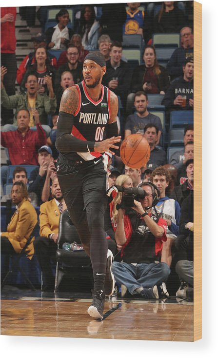 Smoothie King Center Wood Print featuring the photograph Carmelo Anthony by Layne Murdoch Jr.