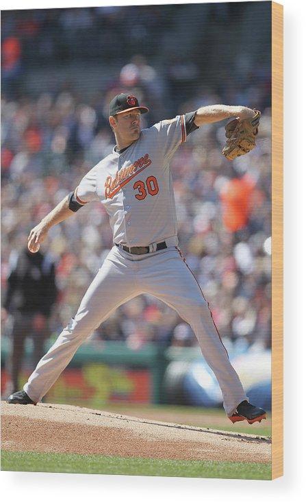 American League Baseball Wood Print featuring the photograph Chris Tillman by John Grieshop
