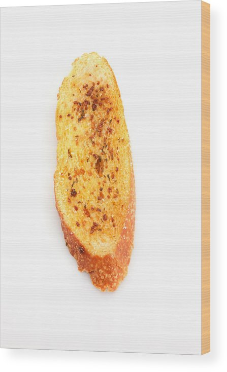 White Background Wood Print featuring the photograph Close-Up Of Garlic Bread Against White Background by Eskay Lim / EyeEm
