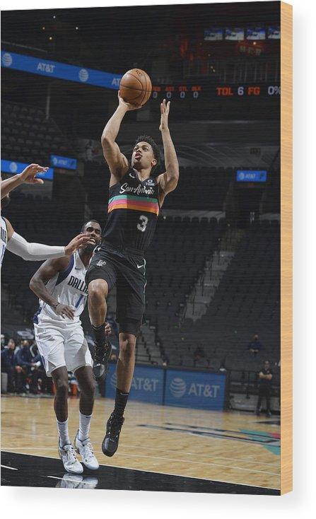 Keldon Johnson Wood Print featuring the photograph Dallas Mavericks v San Antonio Spurs by Logan Riely