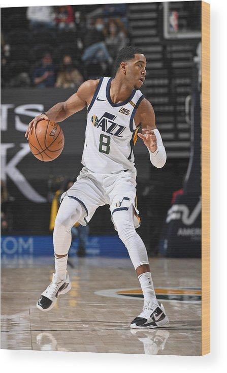 Nba Pro Basketball Wood Print featuring the photograph Dallas Mavericks v Utah Jazz by Garrett Ellwood
