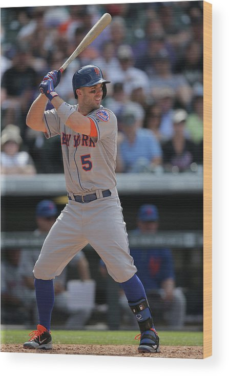 National League Baseball Wood Print featuring the photograph David Wright by Doug Pensinger