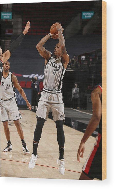 Nba Pro Basketball Wood Print featuring the photograph Demar Derozan by Cameron Browne