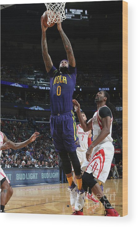 Smoothie King Center Wood Print featuring the photograph Demarcus Cousins by Layne Murdoch