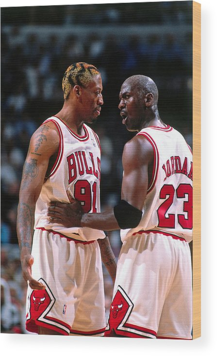 Chicago Bulls Wood Print featuring the photograph Dennis Rodman and Michael Jordan by Nathaniel S. Butler