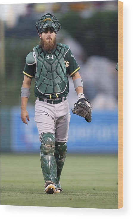 American League Baseball Wood Print featuring the photograph Derek Norris by Paul Spinelli