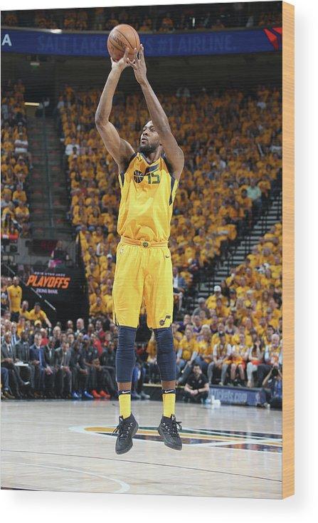 Playoffs Wood Print featuring the photograph Derrick Favors by Melissa Majchrzak