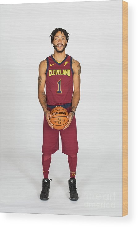 Media Day Wood Print featuring the photograph Derrick Rose by Michael J. Lebrecht Ii