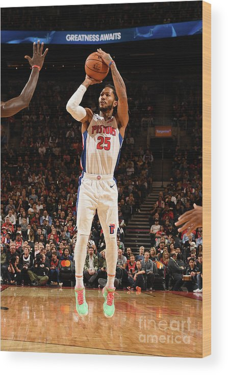 Nba Pro Basketball Wood Print featuring the photograph Derrick Rose by Ron Turenne