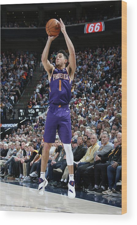 Nba Pro Basketball Wood Print featuring the photograph Devin Booker by Melissa Majchrzak