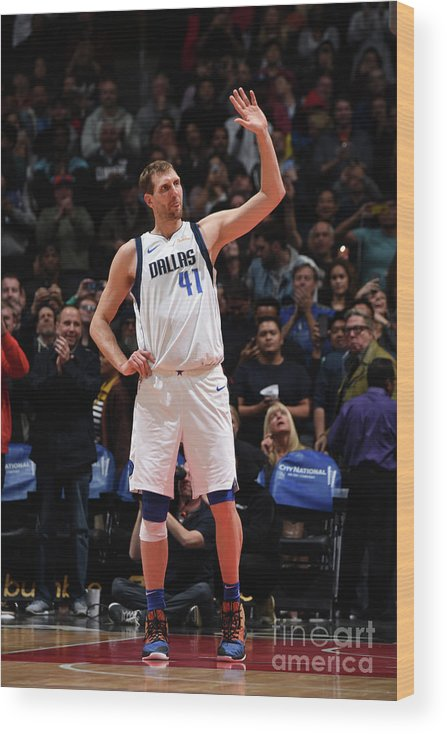 Crowd Wood Print featuring the photograph Dirk Nowitzki by Adam Pantozzi