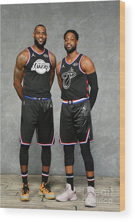 Nba Pro Basketball Wood Print featuring the photograph Dwyane Wade and Lebron James by Jesse D. Garrabrant