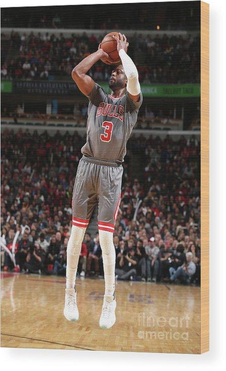 Nba Pro Basketball Wood Print featuring the photograph Dwyane Wade by David Sherman