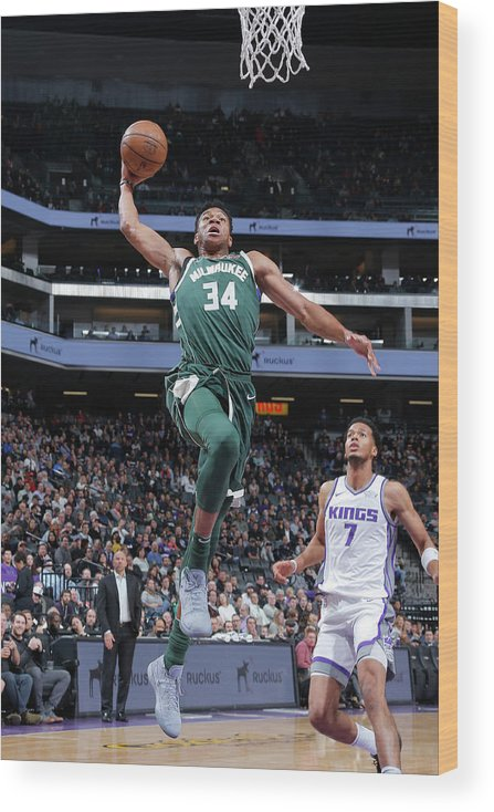 Nba Pro Basketball Wood Print featuring the photograph Giannis Antetokounmpo by Rocky Widner