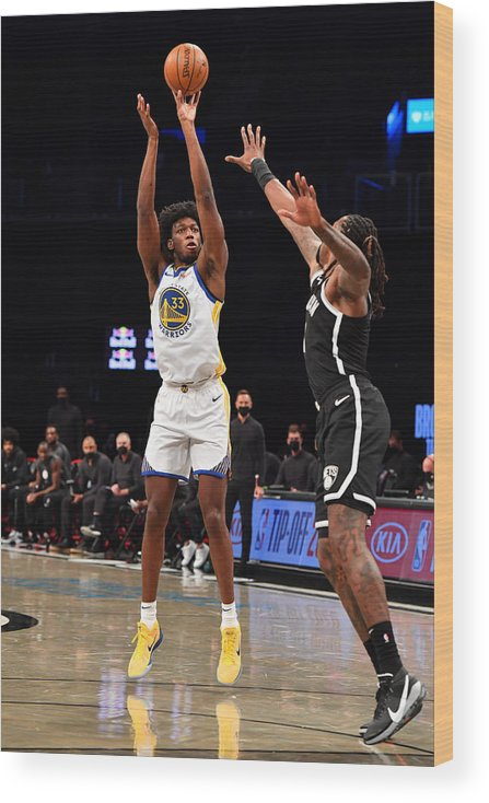 Nba Pro Basketball Wood Print featuring the photograph Golden State Warriors v Brooklyn Nets by Jesse D. Garrabrant