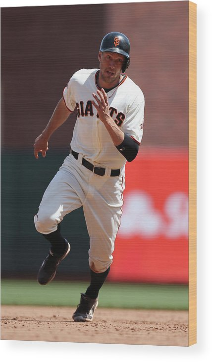 San Francisco Wood Print featuring the photograph Hunter Pence by Brad Mangin