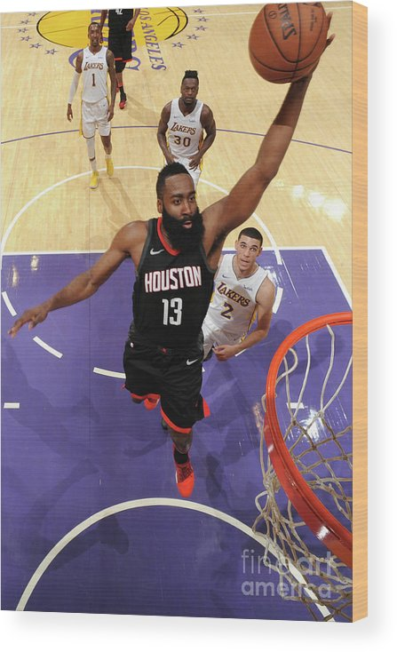 Nba Pro Basketball Wood Print featuring the photograph James Harden by Adam Pantozzi