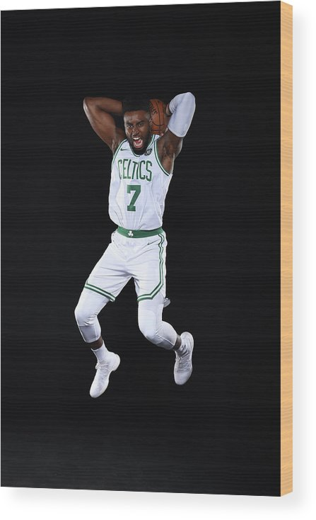 Media Day Wood Print featuring the photograph Jaylen Brown by Brian Babineau