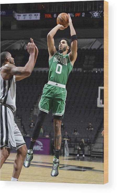 Nba Pro Basketball Wood Print featuring the photograph Jayson Tatum by Logan Riely