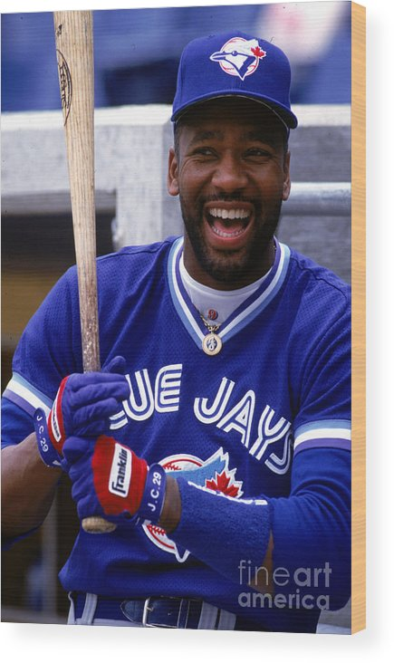 American League Baseball Wood Print featuring the photograph Joe Carter by Ron Vesely