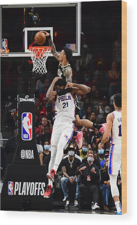 Atlanta Wood Print featuring the photograph John Collins and Joel Embiid by Scott Cunningham