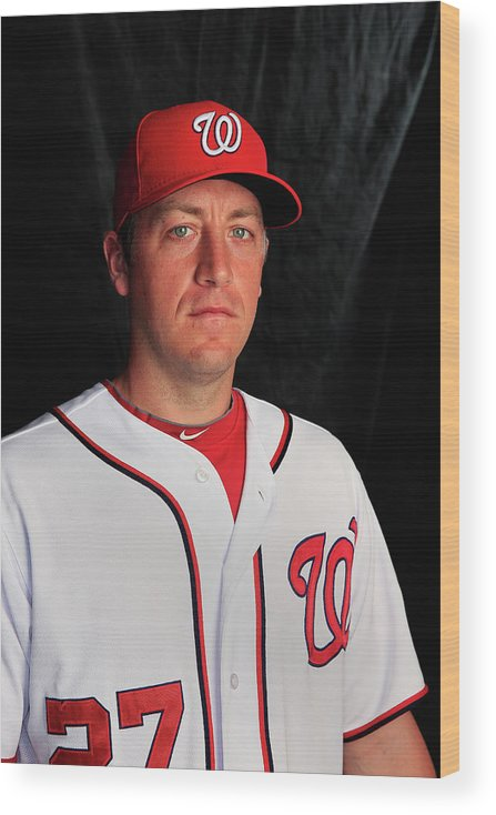 Media Day Wood Print featuring the photograph Jordan Zimmermann by Rob Carr