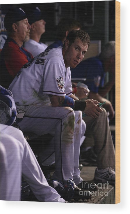 American League Baseball Wood Print featuring the photograph Josh Hamilton by Christian Petersen