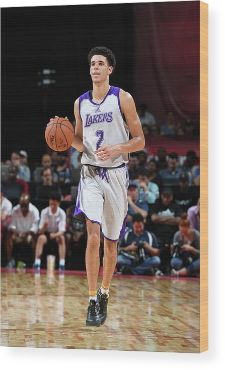 Nba Pro Basketball Wood Print featuring the photograph Lonzo Ball by Garrett Ellwood