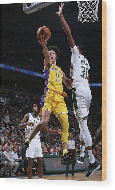 Nba Pro Basketball Wood Print featuring the photograph Lonzo Ball by Gary Dineen