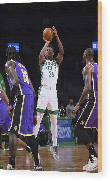 Nba Pro Basketball Wood Print featuring the photograph Los Angeles Lakers v Boston Celtics by Brian Babineau