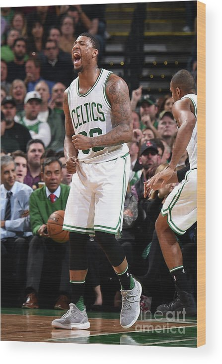 Nba Pro Basketball Wood Print featuring the photograph Marcus Smart by Brian Babineau