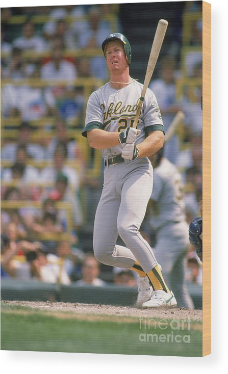1980-1989 Wood Print featuring the photograph Mark Mcgwire by Ron Vesely