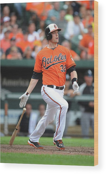 American League Baseball Wood Print featuring the photograph Matt Wieters by Mitchell Layton