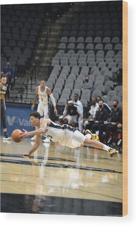 Keldon Johnson Wood Print featuring the photograph Memphis Grizzlies v San Antonio Spurs by Logan Riely