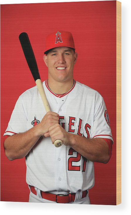 Mike Trout Wood Print featuring the photograph Mike Trout by Jamie Squire